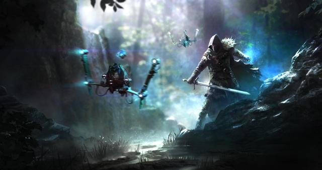 >Ein Moodartwork von 2015 zum Science-Fantasy Scenario. ELEX wird ein Spiel voller Gegensätze. Hier sieht man wie der Held auf eine Drohne trifft.